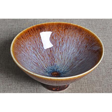 Сунская пиала (обливная глазурь, глиняная пиала в глазури с красивым узором) №1