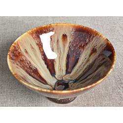 Сунская пиала (обливная глазурь, глиняная пиала в глазури с красивым узором) №2