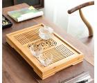 Чабань (чайный столик, чайная доска) Бамбук №1927 (42,5*28*5см) с металлическим поддоном