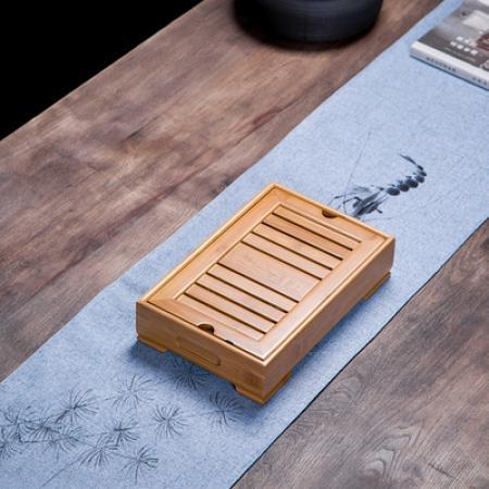 Чабань (чайный столик, чайная доска) Бамбук №1931 (42,5*28*5см) с металлическим поддоном