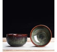 Сунская пиала (обливная глазурь, глиняная пиала в глазури с красивым узором) №1432