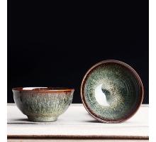 Сунская пиала (обливная глазурь, глиняная пиала в глазури с красивым узором) №1433