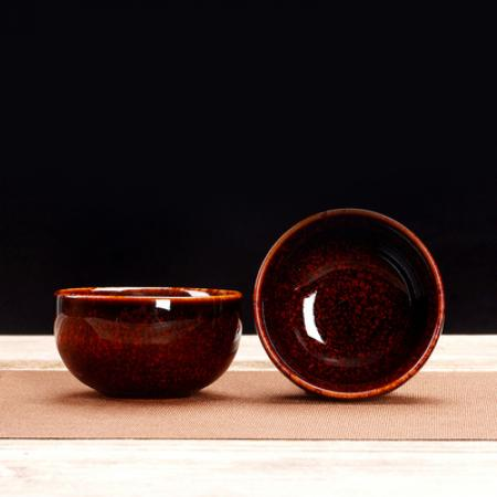 Сунская пиала (обливная глазурь, глиняная пиала в глазури с красивым узором) №1438