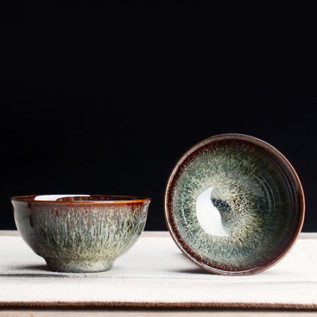 Сунская пиала (обливная глазурь, глиняная пиала в глазури с красивым узором) №1439