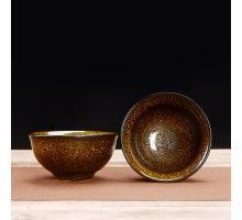 Сунская пиала (обливная глазурь, глиняная пиала в глазури с красивым узором) №1440