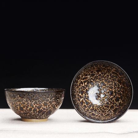 Сунская пиала (обливная глазурь, глиняная пиала в глазури с красивым узором) №1441