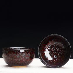Сунская пиала (обливная глазурь, глиняная пиала в глазури с красивым узором) №1444