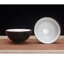 Сунская пиала (обливная глазурь, глиняная пиала в глазури с красивым узором) №1448