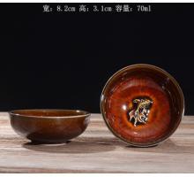 Сунская пиала (обливная глазурь, глиняная пиала в глазури с красивым узором) №17