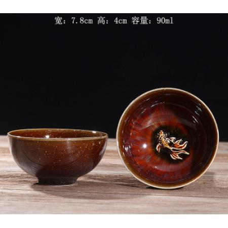 Сунская пиала (обливная глазурь, глиняная пиала в глазури с красивым узором) №18