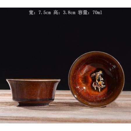 Сунская пиала (обливная глазурь, глиняная пиала в глазури с красивым узором) №19