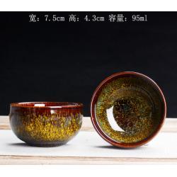 Сунская пиала (обливная глазурь, глиняная пиала в глазури с красивым узором) №14