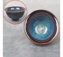 Сунская пиала (обливная глазурь, глиняная пиала в глазури с красивым узором) №1410