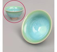 Сунская пиала (обливная глазурь, глиняная пиала в глазури с красивым узором) №1413