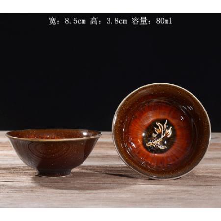 Сунская пиала (обливная глазурь, глиняная пиала в глазури с красивым узором) №20