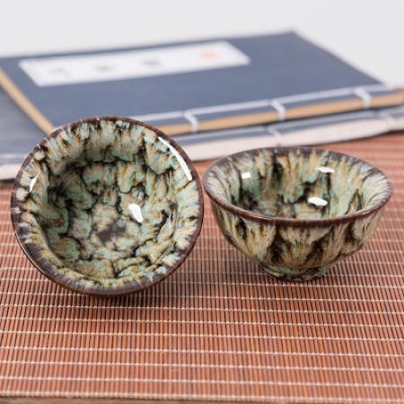 Сунская пиала (обливная глазурь, глиняная пиала в глазури с красивым узором) №24