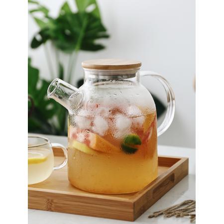 Заварочный стеклянный чайник с фильтром-пружинкой в носике, объем 1500 мл с бамбуковой крышкой
