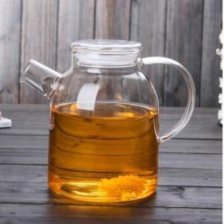 Заваочный стеклянный чайник с фильтром-пружинкой в носике, объем 1600 мл со стеклянной крышкой