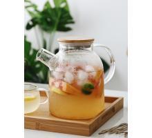 Заварочный стеклянный чайник с фильтром-пружинкой в носике, объем 1600 мл с бамбуковой крышкой