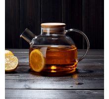 Заварочный стеклянный чайник с фильтром-пружинкой в носике, объем 1 л горлышко 7 см бамбук