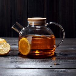 Заварочный стеклянный чайник с фильтром-пружинкой в носике, объем 1 л горлышко 7 см с бамбуковой крышкой
