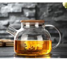 Заварочный стеклянный чайник с фильтром-пружинкой в носике, объем 1 л.  горлышко 8,5 см (бамбуковая крышка)