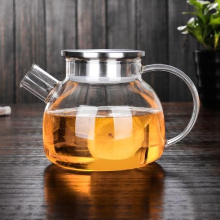 Заварочный стеклянный чайник с фильтром-пружинкой в носике, объем 1 л.  горлышко 8,5 см (металлическая крышка)