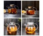 Заварочный стеклянный чайник с фильтром-пружинкой в носике, объем 1 л.  горлышко 8,5 см (стеклянная крышка)
