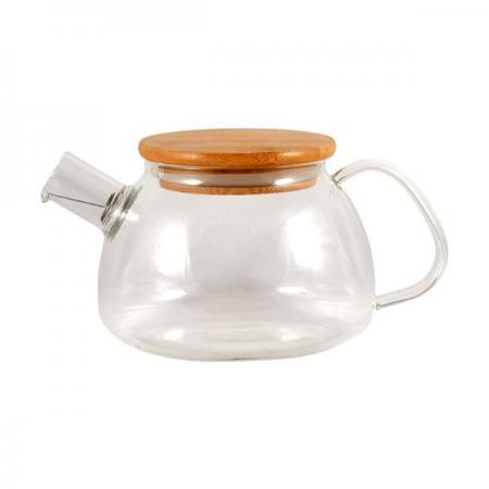 Заварочный стеклянный чайник 500 мл с бамбуковой крышкой
