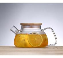 Заварочный стеклянный чайник 700 мл с бамбуковой крышкой