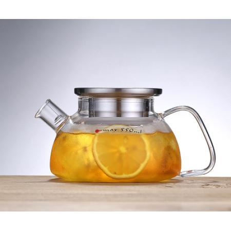 Заварочный стеклянный чайник 700 мл с металлической крышкой