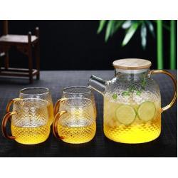 Заварочный стеклянный чайник 1500 мл с бамбуковой крышкой №1822 + 4 чашки на 400 мл