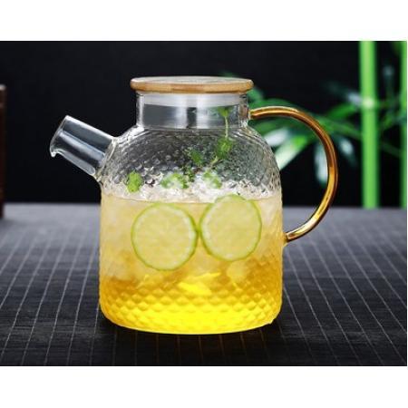 Заварочный стеклянный чайник 1500 мл с бамбуковой крышкой №1822