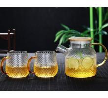 Заварочный стеклянный чайник 800 мл №1821 +2 чашки 400 мл