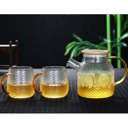 Заварочный стеклянный чайник 800 мл №1821 +4 чашки 400 мл