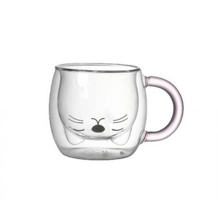 """Стеклянный стакан с двойными стенками  """"Киса"""" 250 мл"""