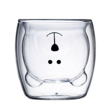 """Стеклянный стакан с двойными стенками  """"Ми-ми-мишка"""" 250 мл"""