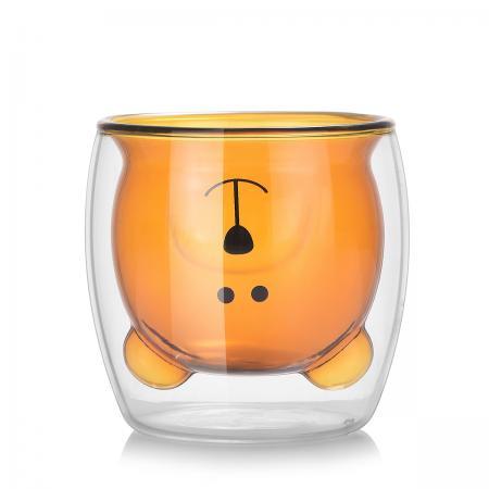 """Стеклянный стакан с двойными стенками  """"Ми-ми-мишка Рыжик"""" 250 мл"""