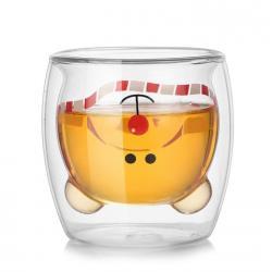 """Стеклянный стакан с двойными стенками  """"Ми-ми-мишка с шарфиком"""" 250 мл"""