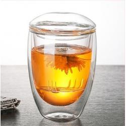 Стеклянный стакан заварник с двойными стенками 350 мл