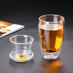 Стеклянный стакан заварник с двойными стенками 450 мл