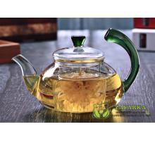 Заварочный стеклянный чайник с зеленой ручкой 600 мл