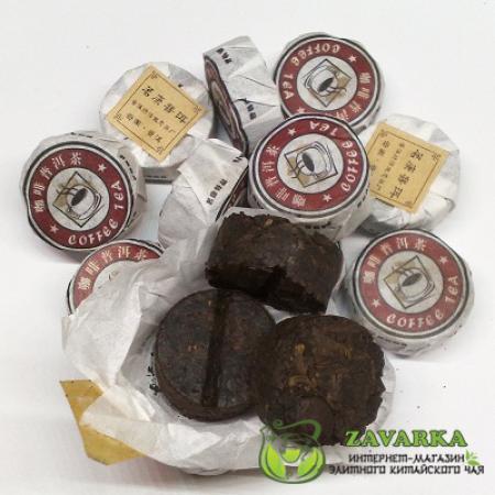 Пуэр Шу «Ка Фэй Юй Бин», пуэр с зерном кофе, Мин Кан