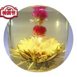 Связанный чай Восходящее солнце (Шарик зеленого чая с цветком календулы, жасмина и гомфрены)