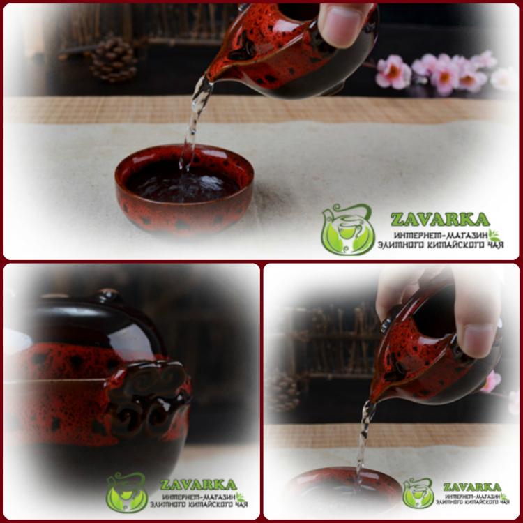 Дорожная гайвань керамическая в глазуре, глазурованная гайвань дорожная с пиалой, очень грасивая глазурь , пиалы в глазуре, гайвань в глазуре. Посуда для чаепития, в дорогу, в офис.