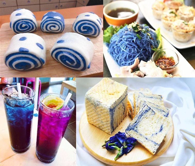 """блюда с синим тайским чаем, чай который вы можете приобрести  в интернет-магазине """"Zavarka""""."""